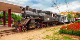 Steam locomotive at Dalat railway station, Vietnam
