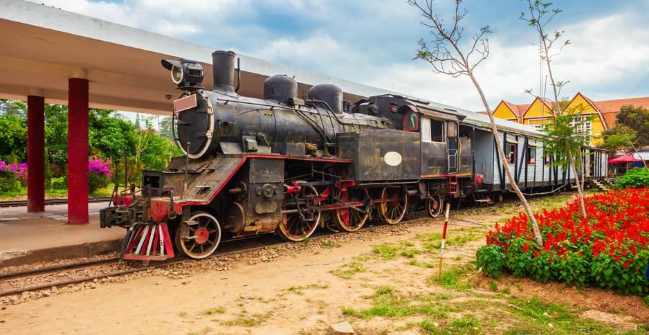Steam locomotive at Dalat railway station, Vietnam