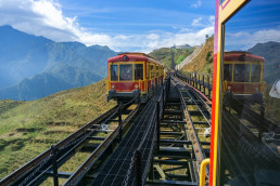 Mountain tram to Fansipan cable car station in Sapa town